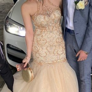 Tiffany Designs Dresses - Champagne and gold Prom Dress